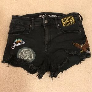 Patched Black Shorts